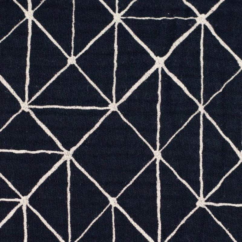 Musselin Jeron grafisch Blau